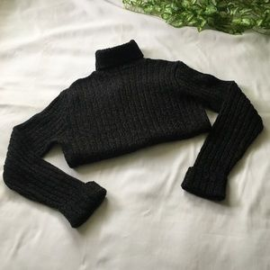 Knit ribbed turtleneck sweater